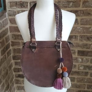 One of a Kind Handcrafted Leather Pom Pom Bag